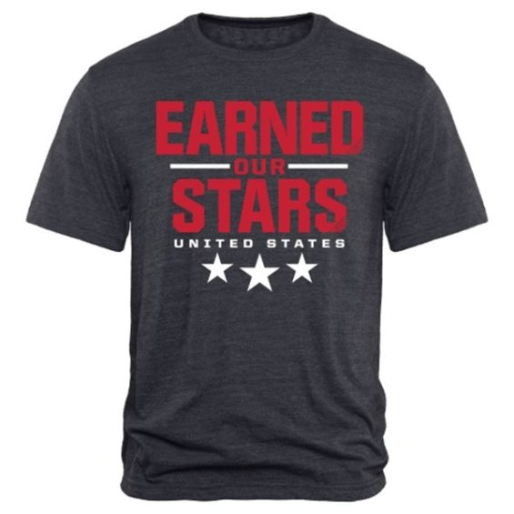 US Women's Soccer Team Navy 2015 World Champions Earned Our Stars Tri-Blend T-Shirt U.S. Women's Soccer FIFA World Cup Champions