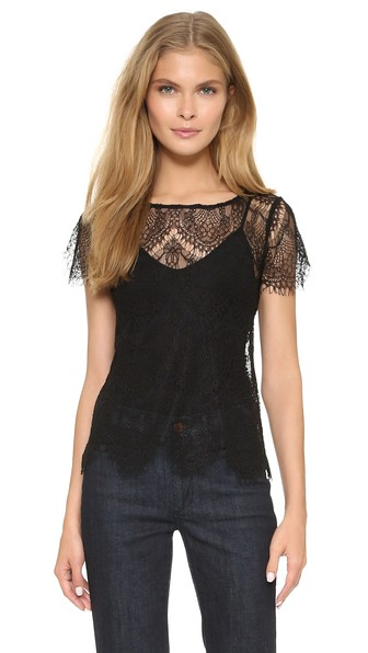 cupcakes and cashmere Larkspur Lace Top in Black