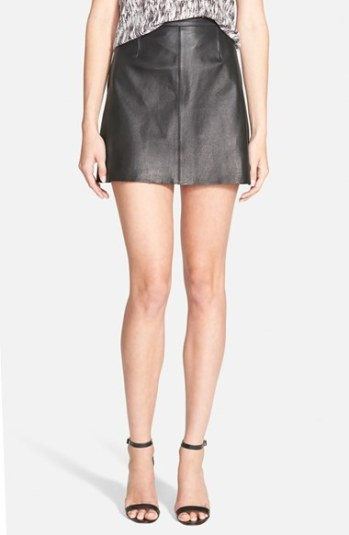 cupcakes and cashmere 'Highland Mozart' Leather Miniskirt in black