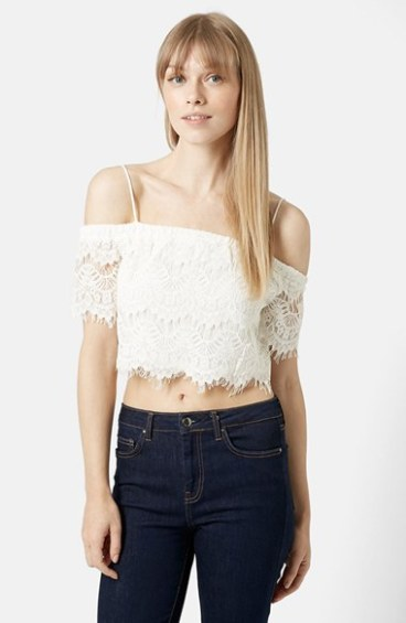Topshop Off the Shoulder Lace Crop Top in White