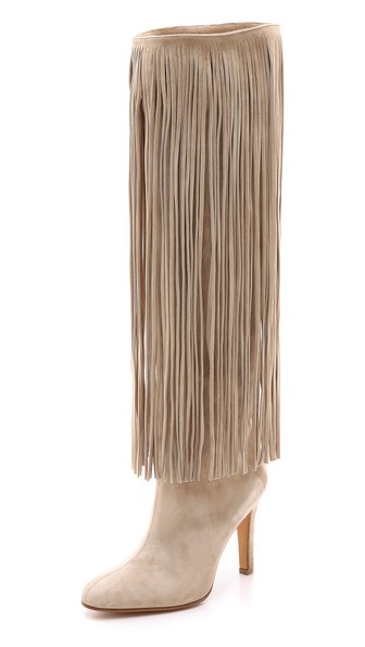 Alexa Wagner Nelli Suede Fringe Boots in Nude