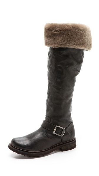 Frye Valerie Shearling Over the Knee Boots in Black