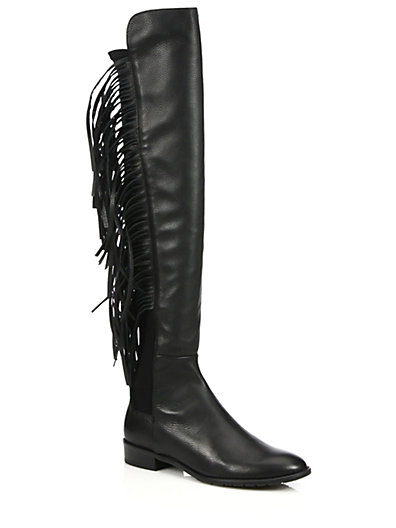 Stuart Weitzman Mane Fringed Leather Over-The-Knee Boots in Black