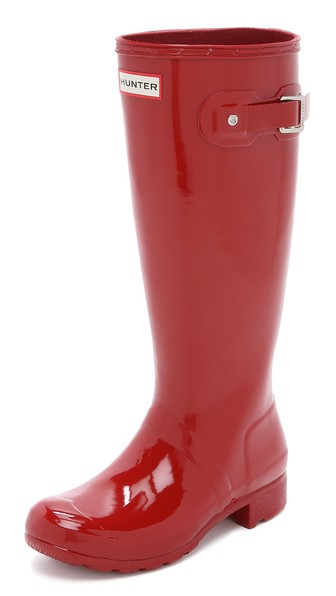 Hunter Boots Original Tour Gloss Boots in Military Red. Shopbop