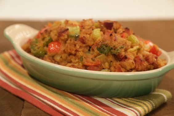 "Watch chef Mario Batali, Kelly Osbourne and chef Michael Symon make delicious cornbread stuffing with jalapeno and andouille just in time for Thanksgiving on the Thursday, November 12, 2015 episode of ""The Chew."" Image courtesy of Twitter."