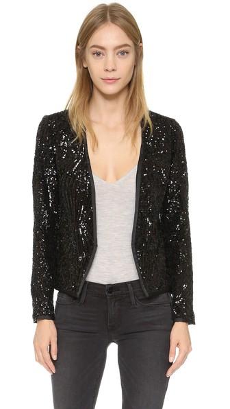 Saylor Quinn Sequin Blazer in Black