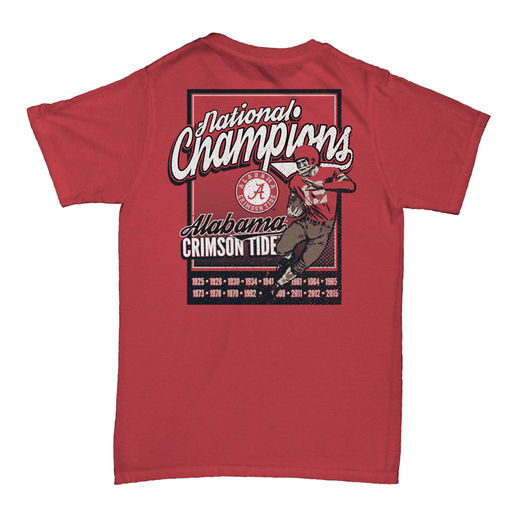 ALABAMA CRIMSON TIDE CRIMSON COLLEGE FOOTBALL PLAYOFF 2015 NATIONAL CHAMPIONS COMFORT COLORS T-SHIRT