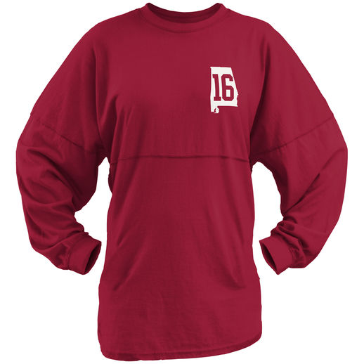 ALABAMA CRIMSON TIDE WOMEN'S CRIMSON COLLEGE FOOTBALL PLAYOFF 2015 NATIONAL CHAMPIONS SWEEPER LONG SLEEVE T-SHIRT