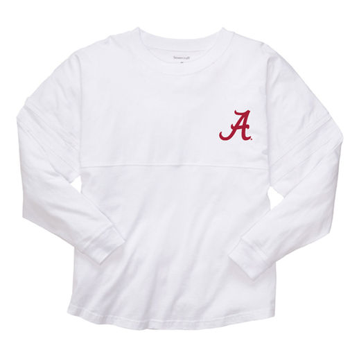 ALABAMA CRIMSON TIDE WOMEN'S WHITE COLLEGE FOOTBALL PLAYOFF 2015 NATIONAL CHAMPIONS POM POM JERSEY LONG SLEEVE T-SHIRT