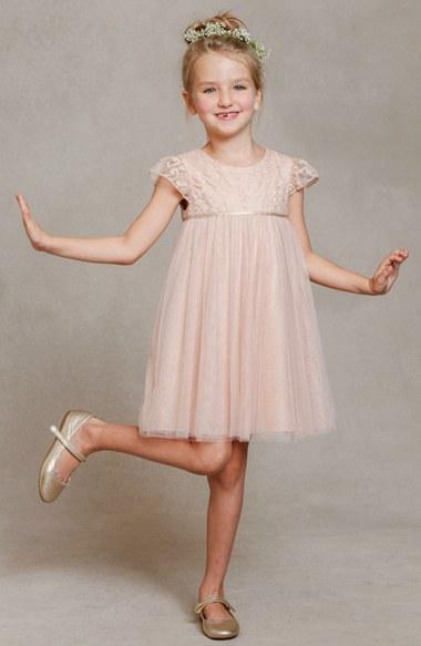 Jenny Yoo 'April' Lace & Tulle Dress (Toddler, Little Girls & Big Girls) in Blush