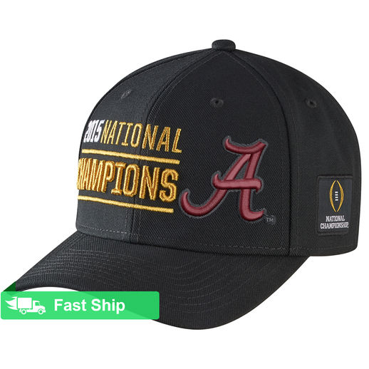 NIKE ALABAMA CRIMSON TIDE BLACK COLLEGE FOOTBALL PLAYOFF 2015 NATIONAL CHAMPIONS COACHES LOCKER ROOM PERFORMANCE ADJUSTABLE HAT