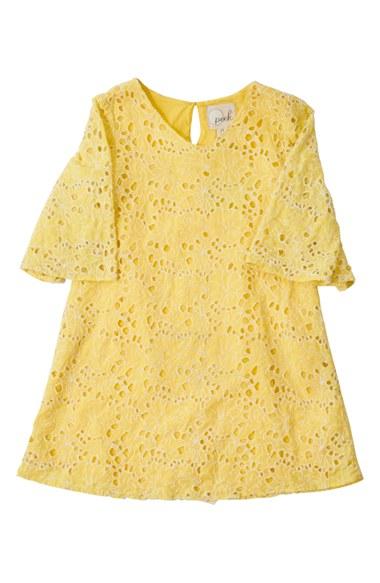 Peek 'Elle' Eyelet Lace Dress (Toddler Girls, Little Girls & Big Girls) in Yellow