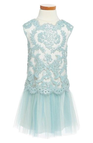 Tadashi Shoji Sequin & Tulle Drop Waist Dress (Toddler Girls, Little Girls & Big Girls) in Frosted Jade/Ivory