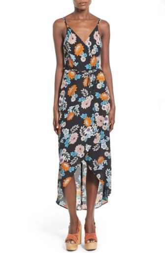 ASTR Floral Print Wrap Front High/Low Dress
