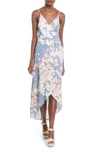 ASTR Wrap Front High/Low Dress Blue Multi Floral Print