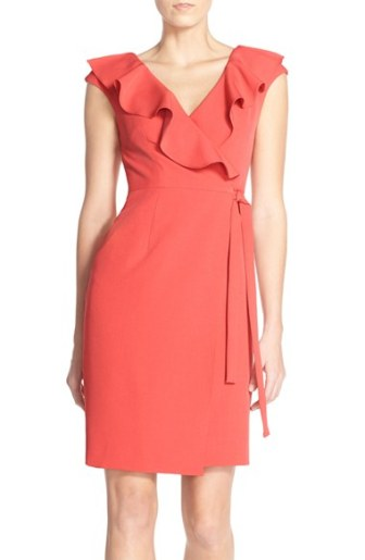 Adrianna Papell Crepe Wrap Dress Indian Rose with Ruffled Neckline wrap dresses for easter