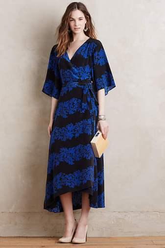 Burning Torch Circe Silk Wrap Dress Blue Motif