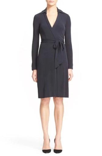 Diane von Furstenberg 'New Jeanne Two' Jersey Wrap Dress Black