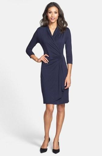Karen Kane Three-Quarter Sleeve Cascade Faux Wrap Dress (Regular & Petite) Navy Blue