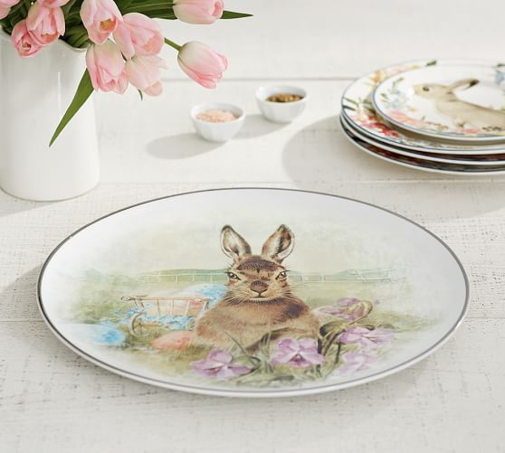 Pottery Barn MEADOW BUNNY SERVING PLATTER