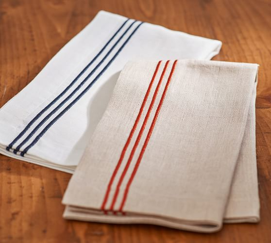 Pottery Barn EMBROIDERED STRIPE NAPKIN, SET OF 4