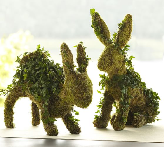Pottery Barn LIVE IVY BUNNY TOPIARIES