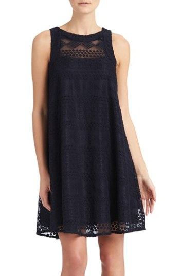 Donna Morgan Embroidered Mesh Swing Dress Midnight Blue trapeze dresses for easter