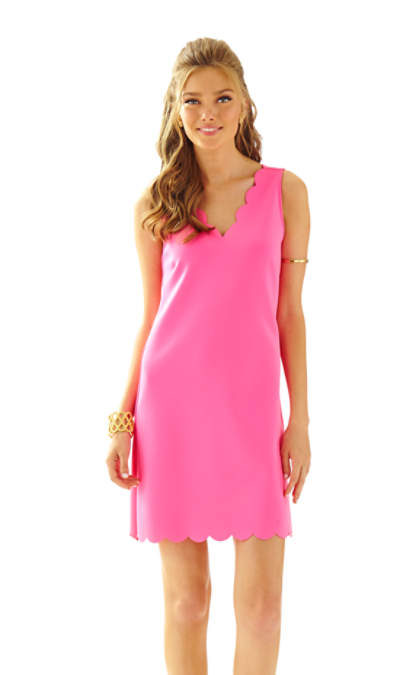 lilly pulitzer shift dresses for easter Lilly Pulitzer MIKAYLA SCALLOP HEM V-NECK SHIFT DRESS Kir Royal Pink