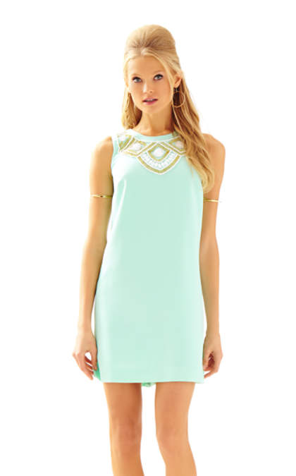 Lilly Pulitzer SABRINA BEADED SHIFT DRESS Poolside Blue