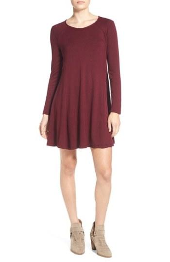 Lush 'Lauren' Long Sleeve Shift Dress Burgundy