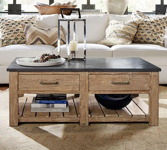 Pottery Barn PARKER RECLAIMED WOOD COFFEE TABLE Solid Bluestone Top Eco-Friendly