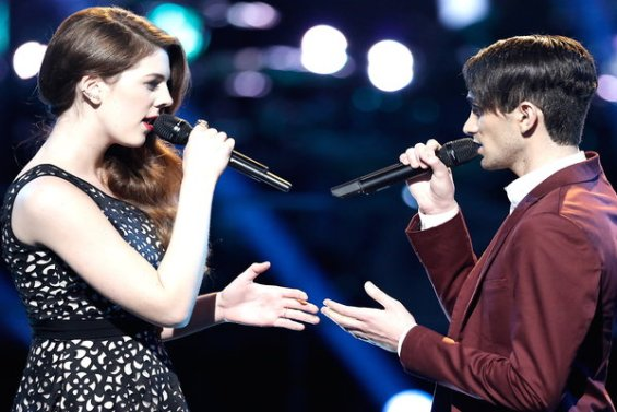 """See Jonathan Bach vs. Emily Keener (Team Pharrell Williams, advisor Sean P. Diddy Combs) battle it out with Ellie Goulding's hit song """"Explosions"""" on """"The Voice"""" season 10 episode 8."""