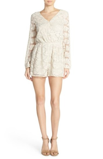 Adelyn Rae Open Back Floral Embroidered Lace Romper Natural