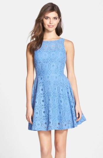 BB Dakota 'Renley' Lace Fit & Flare Dress (Nordstrom Exclusive) French Blue fit and flare dresses kentucky derby