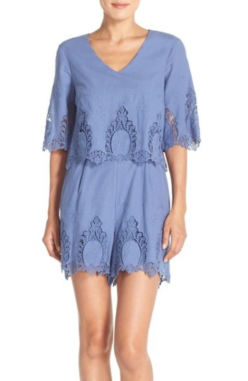 ECI Embroidered Cotton Popover Romper Blue embroidered rompers for spring