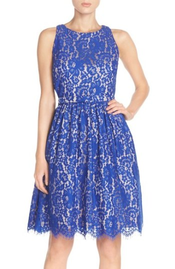 Eliza J Cutout Back Lace Fit & Flare Dress (Regular & Petite) Cobalt Blue fit and flare dresses kentucky derby