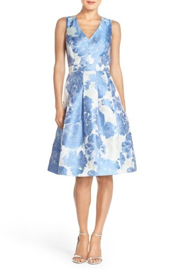 Eliza J Floral Jacquard Fit & Flare Dress Blue Print fit and flare dresses for kentucky derby