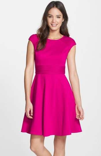 Eliza J Pintucked Waist Seamed Ponte Knit Fit & Flare Dress Pink