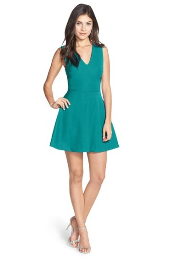 FELICITY & COCO Back Cutout Fit & Flare Dress (Regular & Petite)(Nordstrom Exclusive) Dark Turquoise