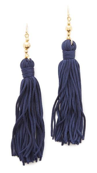 Kenneth Jay Lane Bead & Tassel Earrings Navy Blue Shopbop friends and family sale