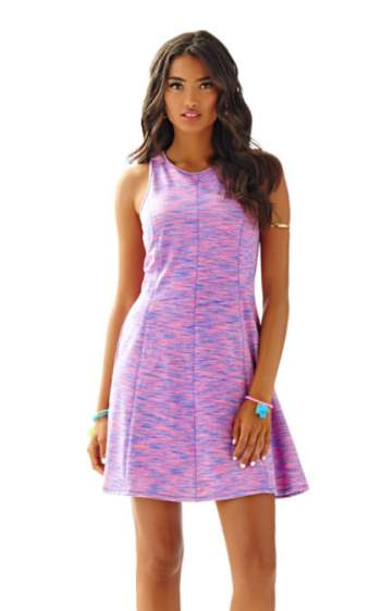 Lilly Pulitzer COVE SLEEVELESS FIT & FLARE DRESS Flamingo Pink Space Dye Runaround Stretch fit and flare dresses