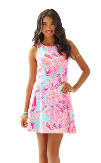 Lilly Pulitzer COVE SLEEVELESS FIT & FLARE DRESS Poolside Blue Love Birds fit and flare dresses kentucky derby