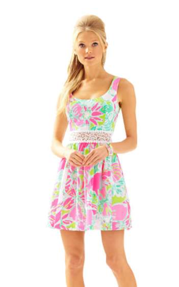 Lilly Pulitzer ROSEMARIE PRINTED SCOOP NECK DRESS Flamingo Pink Dont Give A Cluck