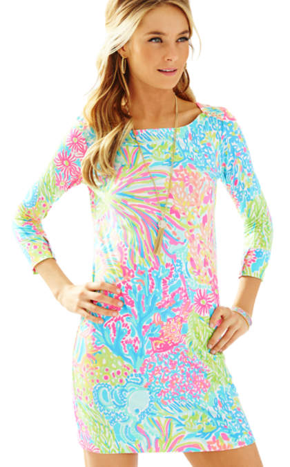 Lilly Pulitzer UPF 50+ SOPHIE DRESS Pool House Blue Lovers Coral lilly pulitzer mother daughter matching dress outfit