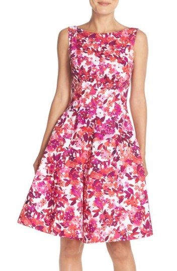 Maggy London 'Cherry Blossom' Print Fit & Flare Dress (Regular & Petite) Soft White/Berry