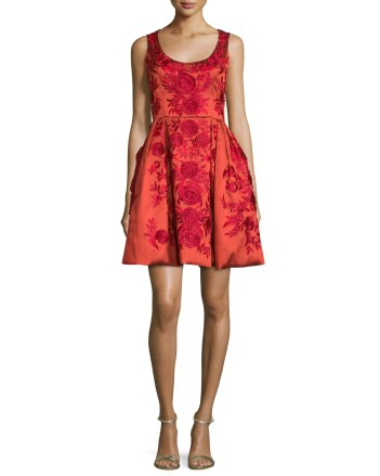 Marchesa Sleeveless Floral-Embroidered Cocktail Dress Red
