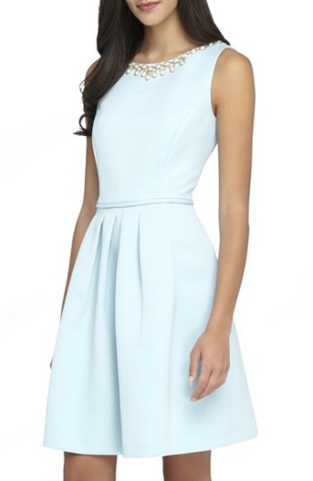 Tahari Embellished Neck Faille Fit & Flare Dress (Regular & Petite) Ice Blue kentucky derby dresses fit and flare dresses