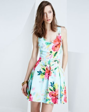Trina Turk Floral-Print Fit-&-Flare Dress Multi Colors fit and flare dresses kentucky derby party
