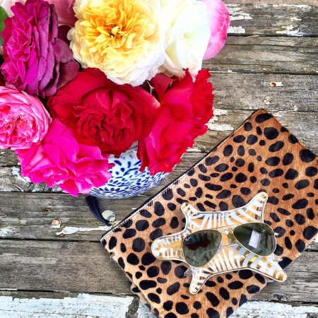 My Shopbop Friends and Family Sale must haves! Jonathan Adler zebra dish, Clare V. leopard print clutch (it's under $250 with the coupon code), my favorite Ray-Ban shrunken aviator sunglasses and garden roses from my flower farm. candace rose candieanderson.com