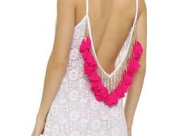 SUNDRESS Lana Crochet Short Beach Dress Tassels White Pink beach cover-ups